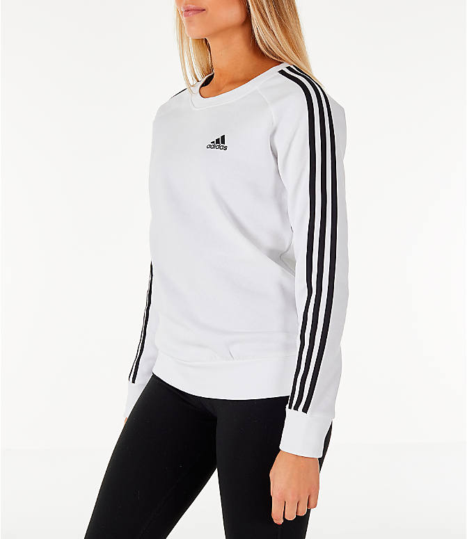 Front Three Quarter view of Women's adidas 3-Stripes Sweatshirt in White/Black