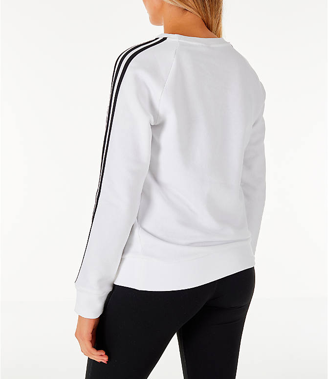 Back Left view of Women's adidas 3-Stripes Sweatshirt in White/Black