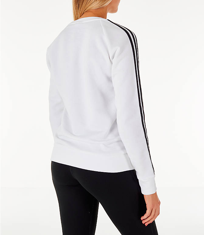 Back Right view of Women's adidas 3-Stripes Sweatshirt in White/Black