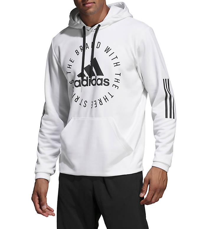 Front view of Men's adidas Sport ID Pullover Hoodie in White/Black