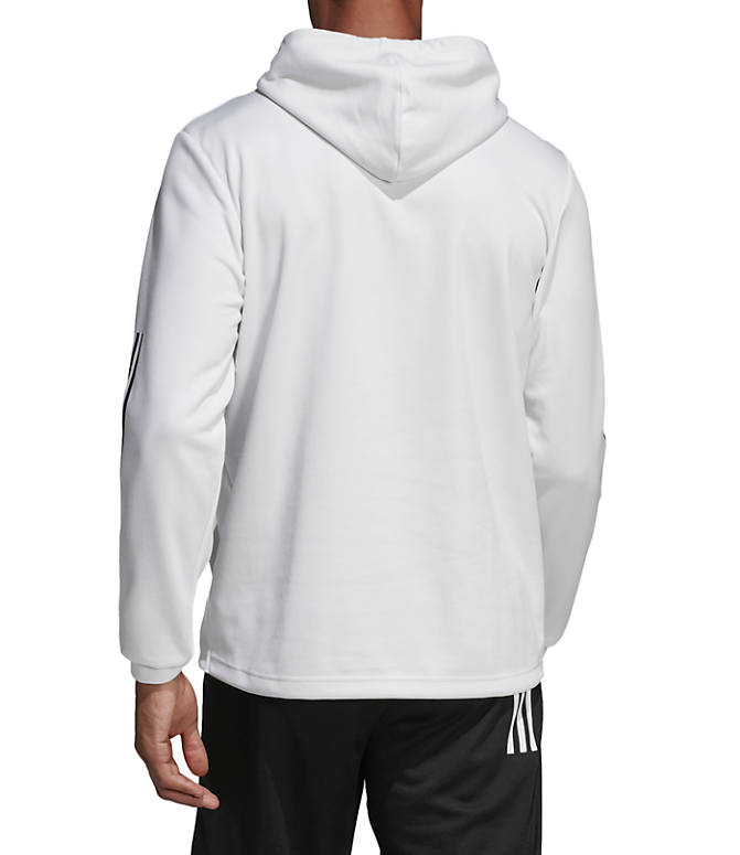 Front Three Quarter view of Men's adidas Sport ID Pullover Hoodie in White/Black