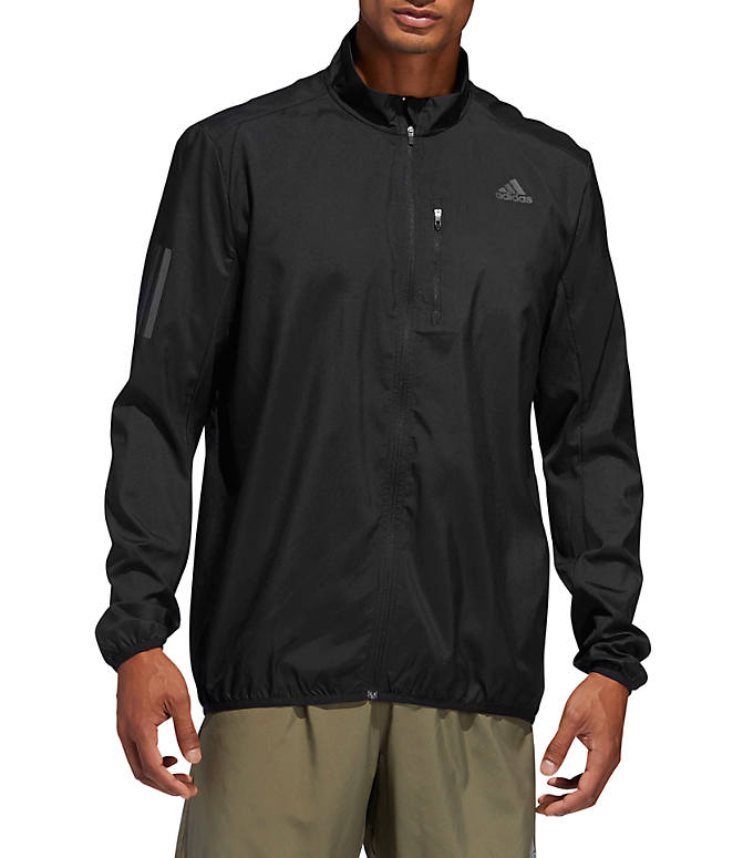 Front view of Men's adidas Own The Run Training Jacket in Black