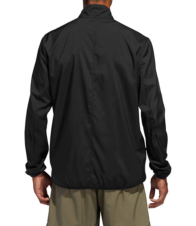 Front Three Quarter view of Men's adidas Own The Run Training Jacket in Black