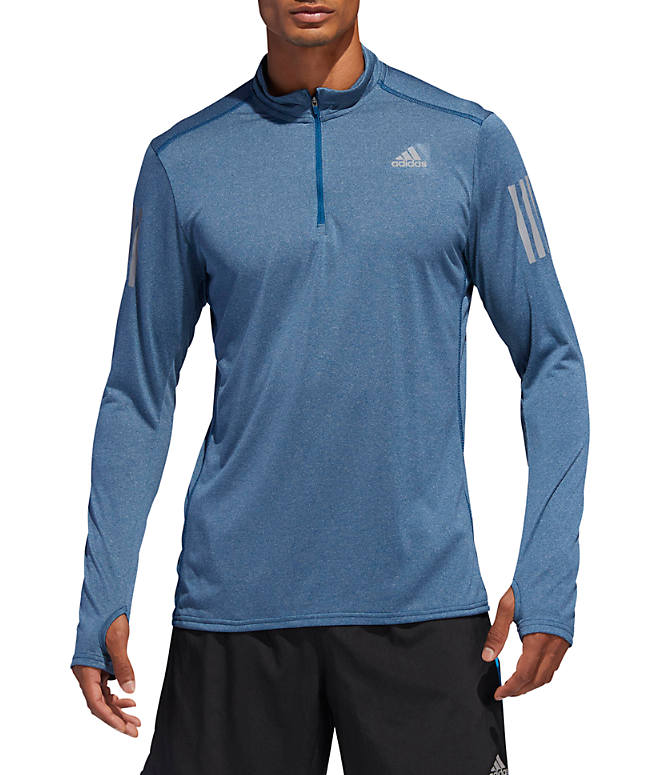 Front view of Men's adidas Response Long Sleeve Half-Zip Training Shirt in Legend Marine