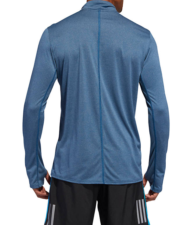 Front Three Quarter view of Men's adidas Response Long Sleeve Half-Zip Training Shirt in Legend Marine