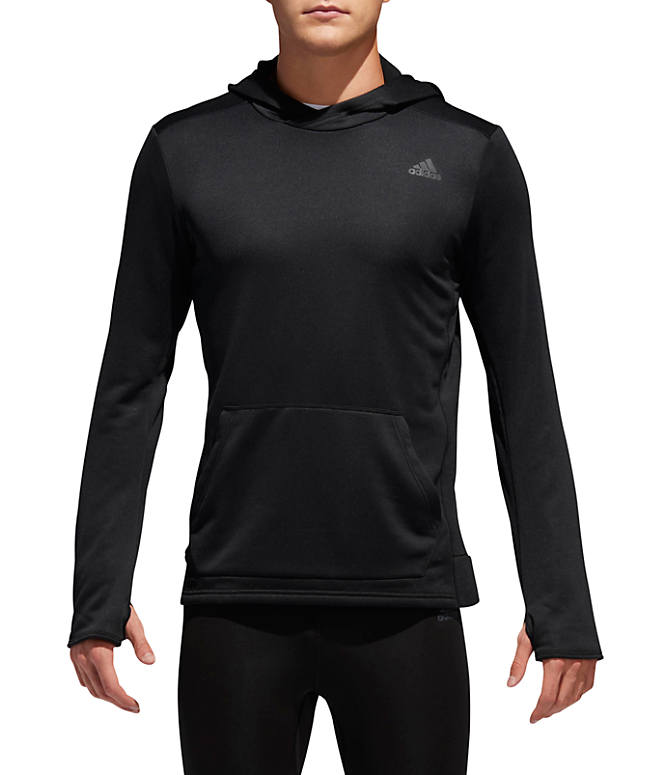 Front view of Men's adidas Own The Run Hoodie in Black