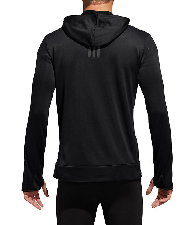 Front Three Quarter view of Men's adidas Own The Run Hoodie in Black