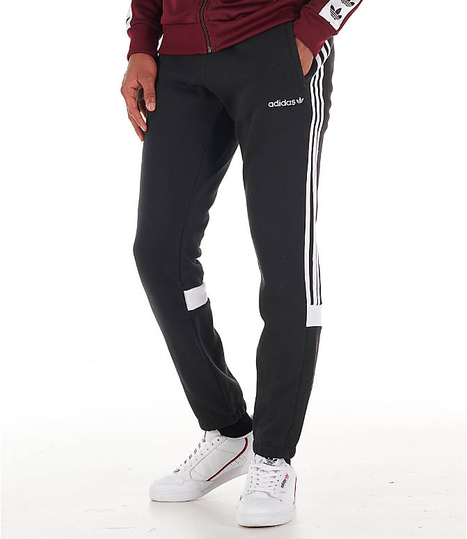 Front view of Men's adidas Originals Itasca Fleece Jogger Pants in Black
