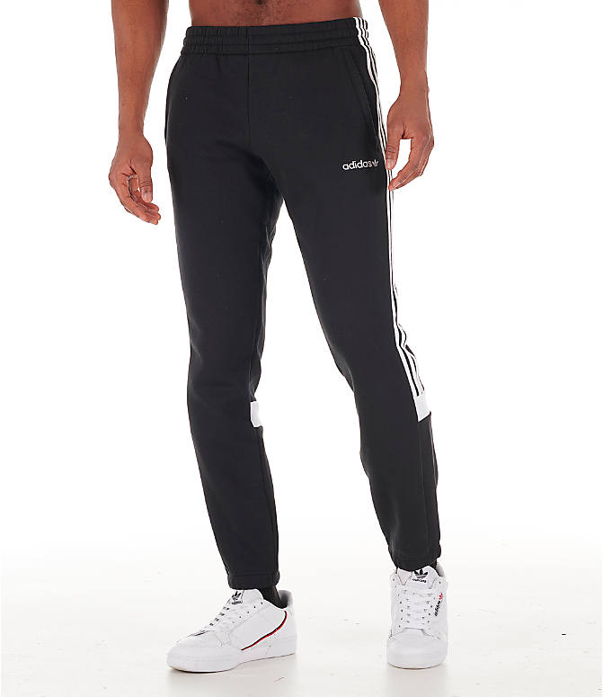 Front Three Quarter view of Men's adidas Originals Itasca Fleece Jogger Pants in Black