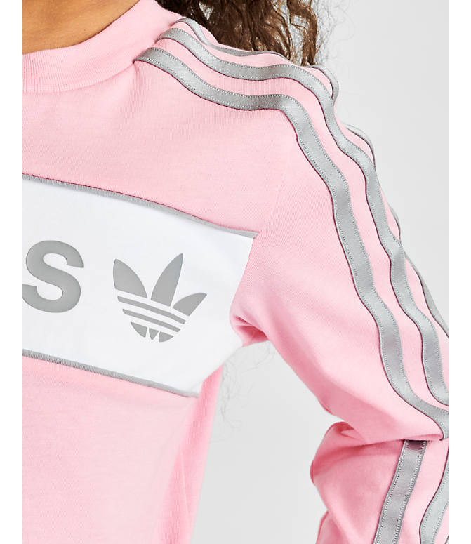 On Model 5 view of Girls' adidas Originals Solid Long-Sleeve T-Shirt in Light Pink