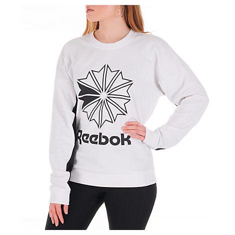 Reebok T-shirts WOMEN'S CLASSICS FRENCH TERRY BIG LOGO CREW SWEATSHIRT, WHITE