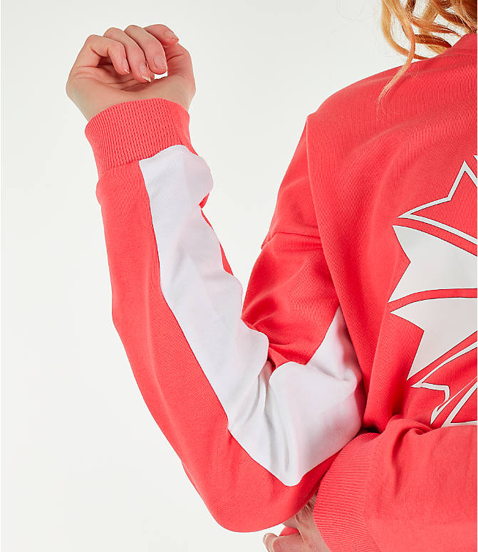 Detail 1 view of Women's Reebok Classics French Terry Big Logo Crew Sweatshirt in Bright Rose