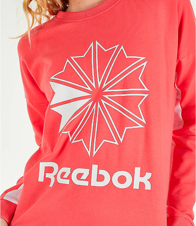 Detail 2 view of Women's Reebok Classics French Terry Big Logo Crew Sweatshirt in Bright Rose