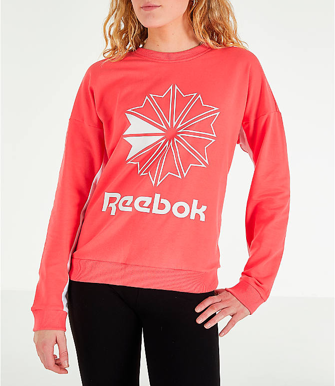 Front view of Women's Reebok Classics French Terry Big Logo Crew Sweatshirt in Bright Rose