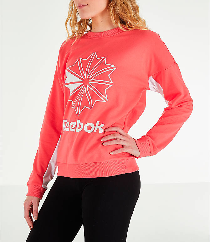 Front Three Quarter view of Women's Reebok Classics French Terry Big Logo Crew Sweatshirt in Bright Rose