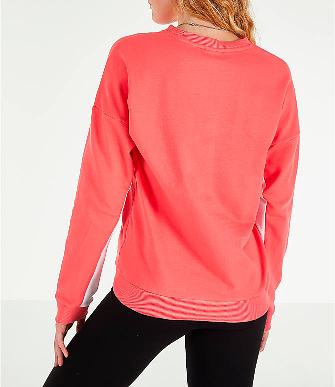 Back Left view of Women's Reebok Classics French Terry Big Logo Crew Sweatshirt in Bright Rose