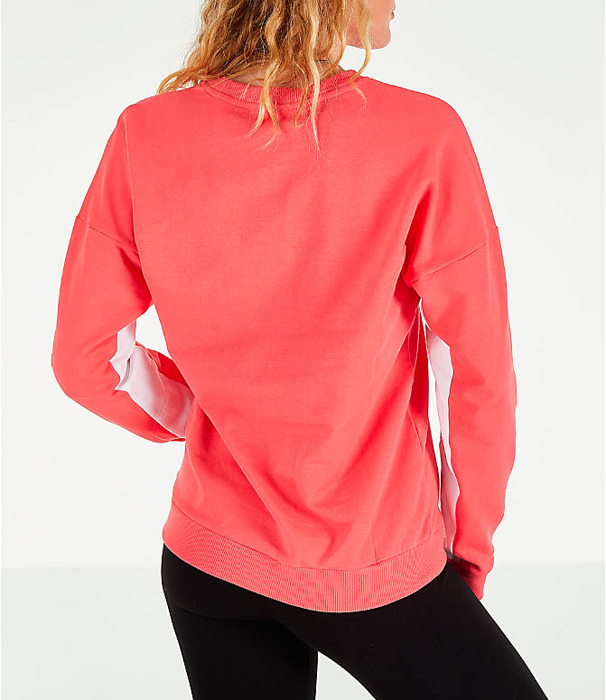 Back Right view of Women's Reebok Classics French Terry Big Logo Crew Sweatshirt in Bright Rose