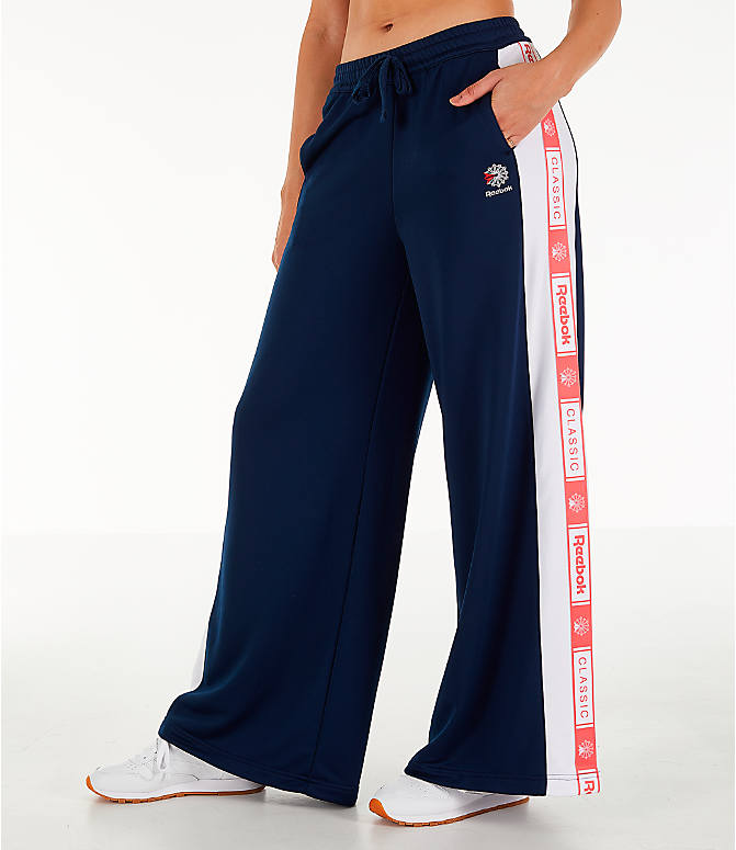 Front view of Women's Reebok Classics Wide Leg Track Pants in Collegiate Navy