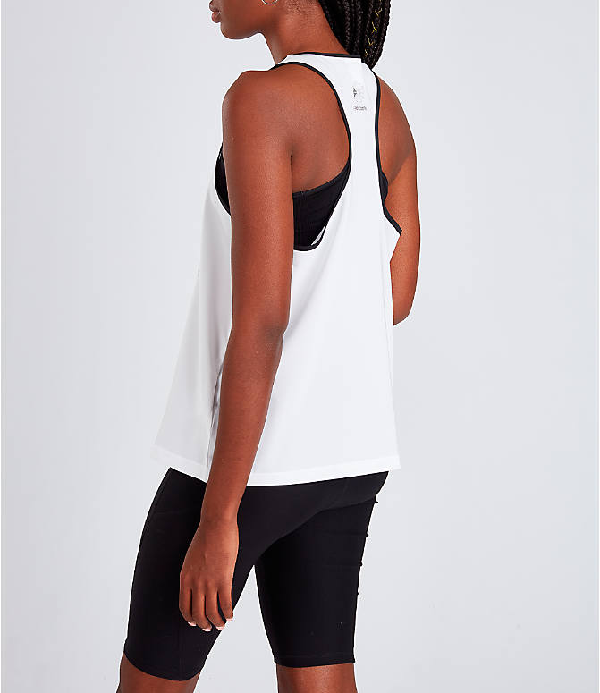 Back Left view of Women's Reebok Classics Starcrest Graphic Tank in White/Black