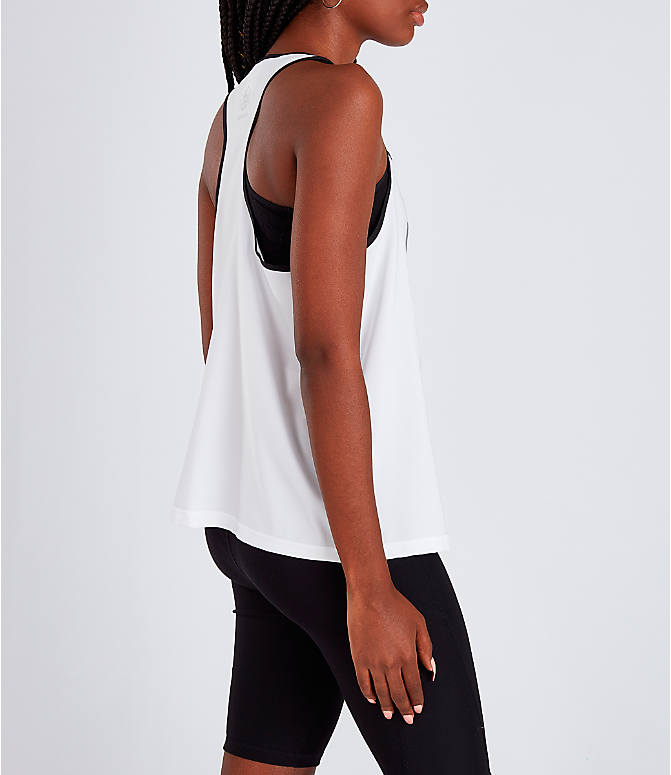 Back Right view of Women's Reebok Classics Starcrest Graphic Tank in White/Black