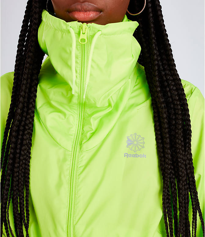 Detail 1 view of Women's Rebook Classics Graphic Windbreaker Jacket in Neon Lime