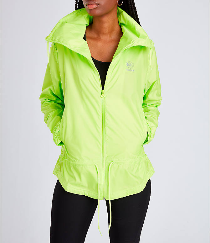 Detail 2 view of Women's Rebook Classics Graphic Windbreaker Jacket in Neon Lime