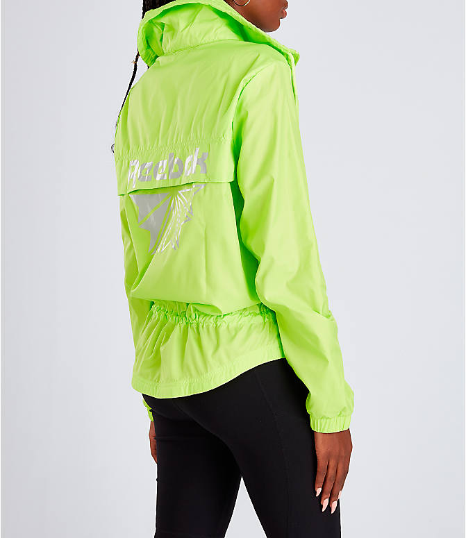 Back Right view of Women's Rebook Classics Graphic Windbreaker Jacket in Neon Lime