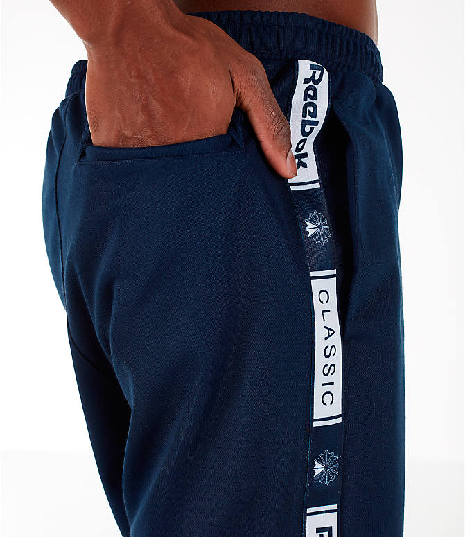 Detail 1 view of Men's Reebok Classics Taped Track Shorts in Collegiate Navy