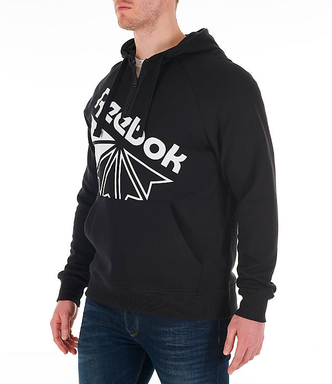 Front Three Quarter view of Men's Reebok Classics Graphic Half-Zip Hoodie in Black