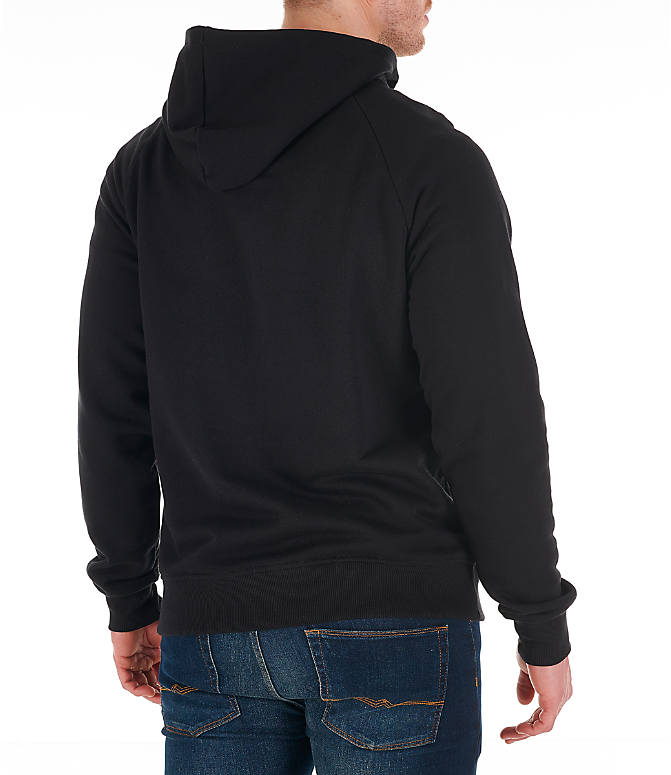 Back Right view of Men's Reebok Classics Graphic Half-Zip Hoodie in Black