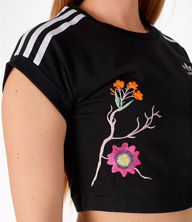 Detail 1 view of Women's adidas Originals Graphic Floral Cropped T-Shirt in Floral/Black