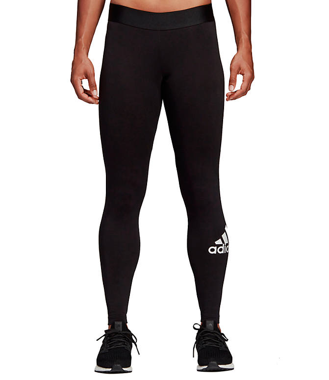 Front view of Women's adidas Badge Of Sport Must-Haves Training Leggings in Black/White