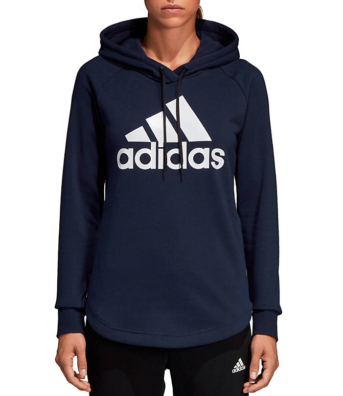 e888ae5438f Front view of Women's adidas Badge Of Sport Must-Haves Pullover Hoodie in  Legend Ink