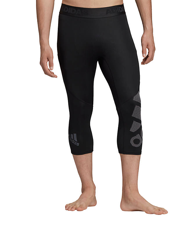 Front view of Men's adidas Alphaskin BOS 3/4 Tights in Black