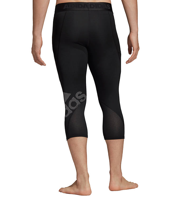 Front Three Quarter view of Men's adidas Alphaskin BOS 3/4 Tights in Black