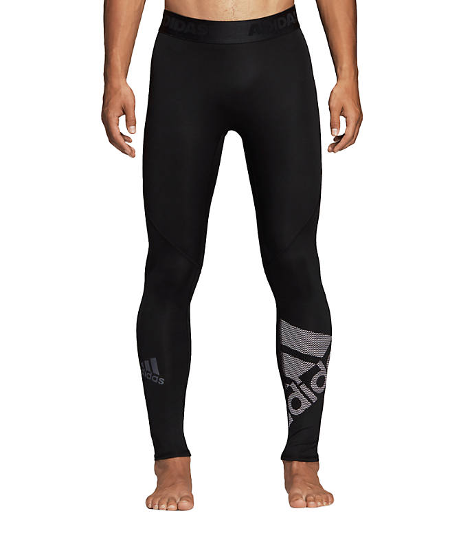 Front view of Men's adidas Alphaskin Sport BOS Long Tights in Black