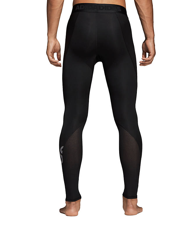 Front Three Quarter view of Men's adidas Alphaskin Sport BOS Long Tights in Black