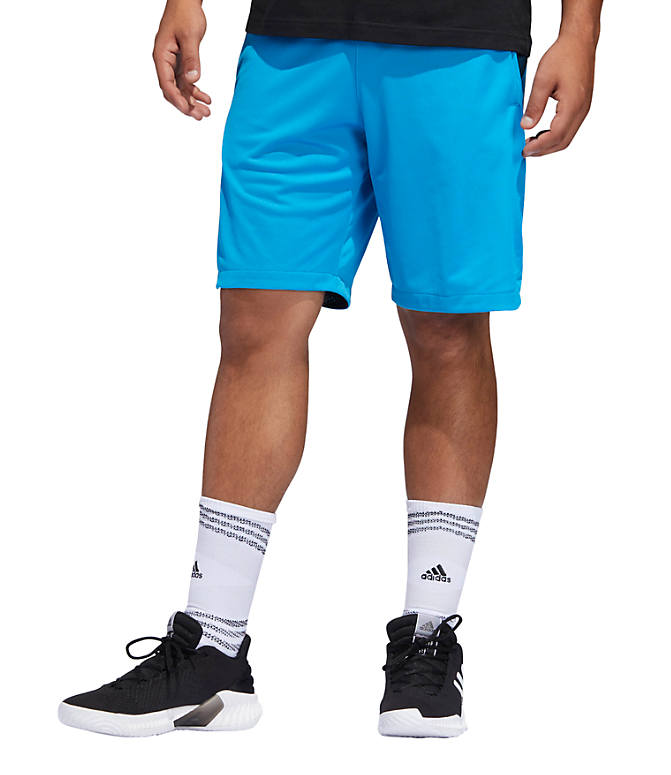 Front view of Men's adidas ACT 3-Stripe Basketball Shorts in Shock Cyan