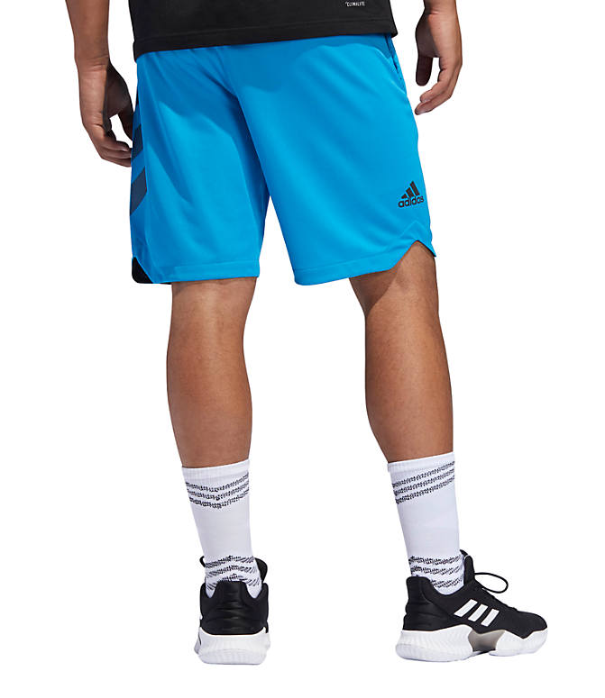 Front Three Quarter view of Men's adidas ACT 3-Stripe Basketball Shorts in Shock Cyan