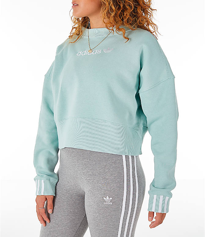 Front Three Quarter view of Women's adidas Originals Coeeze Cropped Sweatshirt in Vapour Green