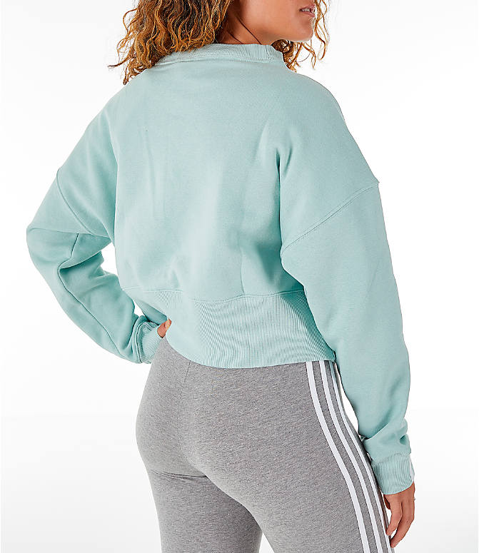 Back Right view of Women's adidas Originals Coeeze Cropped Sweatshirt in Vapour Green