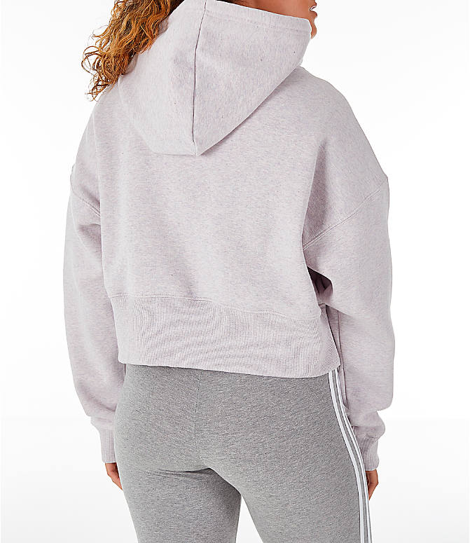 Back Right view of Women's adidas Originals Coeeze Cropped Hoodie in Orchid Tint