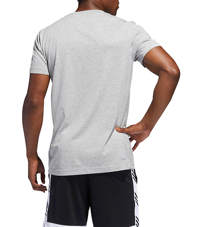 Front Three Quarter view of Men's adidas Live By Ball Graphic T-Shirt in Medium Grey Heather