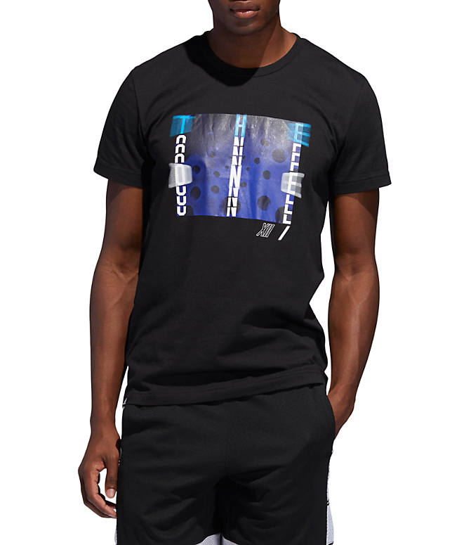 Front view of Men's adidas Harden Verb Graphic T-Shirt in Black