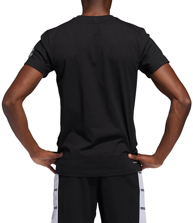 Front Three Quarter view of Men's adidas Harden Verb Graphic T-Shirt in Black