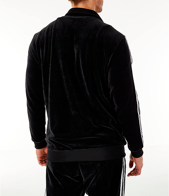 Back Right view of Men's adidas Originals Challenger Velour Track Jacket in Black
