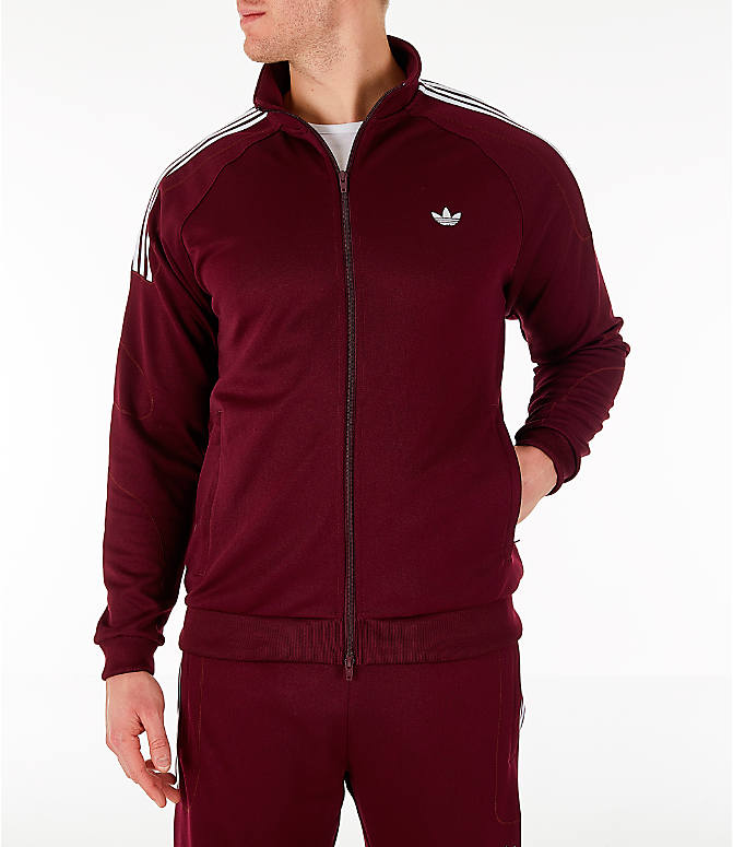 Front view of Men's adidas Originals Flamestrike Track Jacket in Burgundy