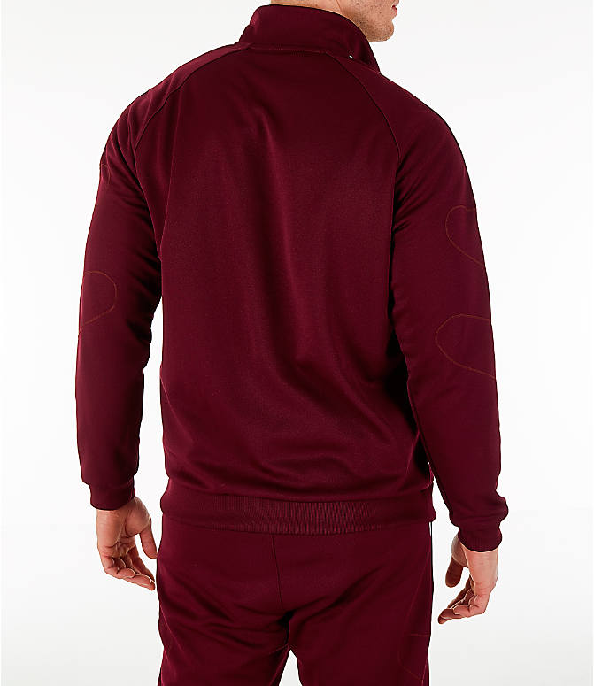 Back Right view of Men's adidas Originals Flamestrike Track Jacket in Burgundy