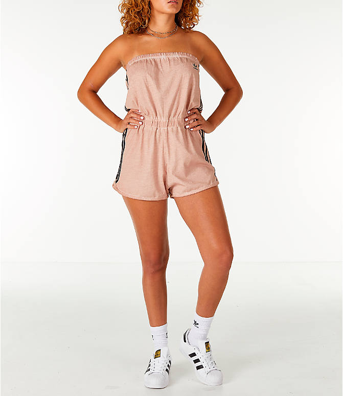 Detail 2 view of Women's adidas Originals Dye Injection Pack Strapless Romper in Dusty Pearl
