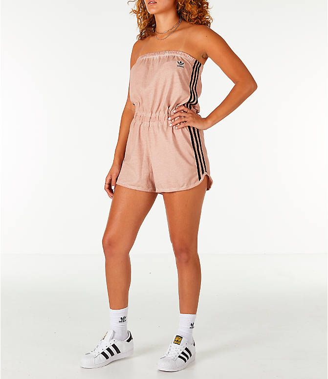 Front view of Women's adidas Originals Dye Injection Pack Strapless Romper in Dusty Pearl